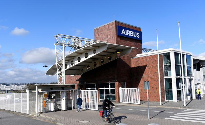 An employee leaves the plant of  Airbus during the outbreak of coronavirus disease (COVID19) in