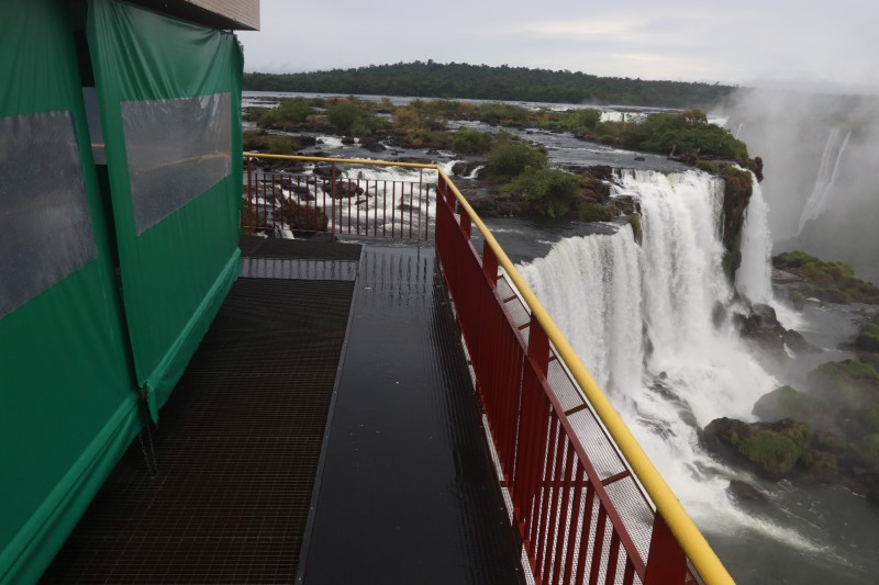 An empty observation platform at the Iguacu National Park is pictured after the its closure due