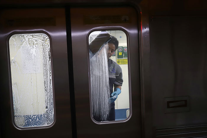 Passengers are pictured inside a public bus during the outbreak of the coronavirus disease