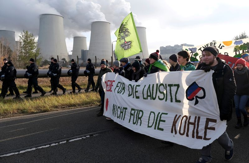 FILE PHOTO: Climate activists from Fridays for Future and Ende Gelaende protest in the Lausitz