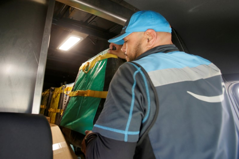Joseph Alvarado makes deliveries for Amazon during the outbreak of the coronavirus disease
