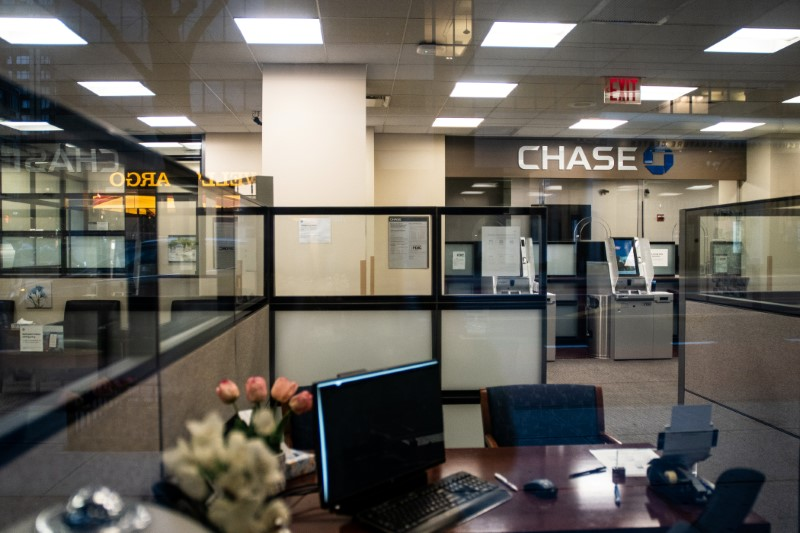 FILE PHOTO: Empty Chase bank branch is seen in New York