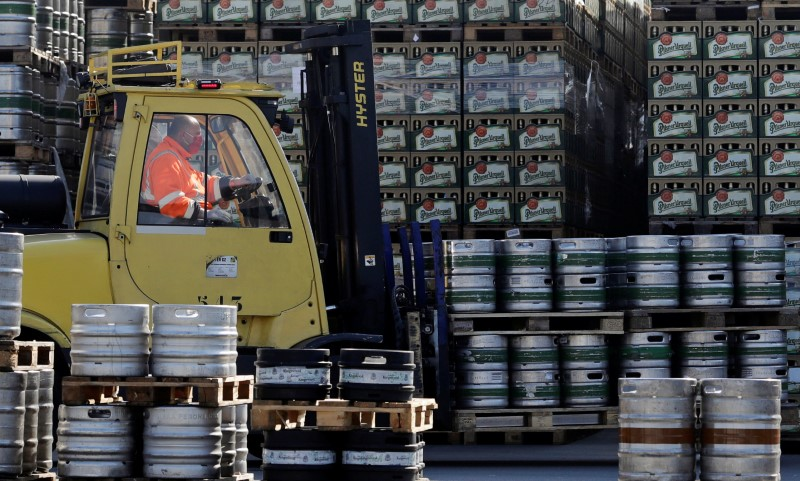 Kegs of beer are transported on the yard of Plzensky Prazdroj brewery in Plzen