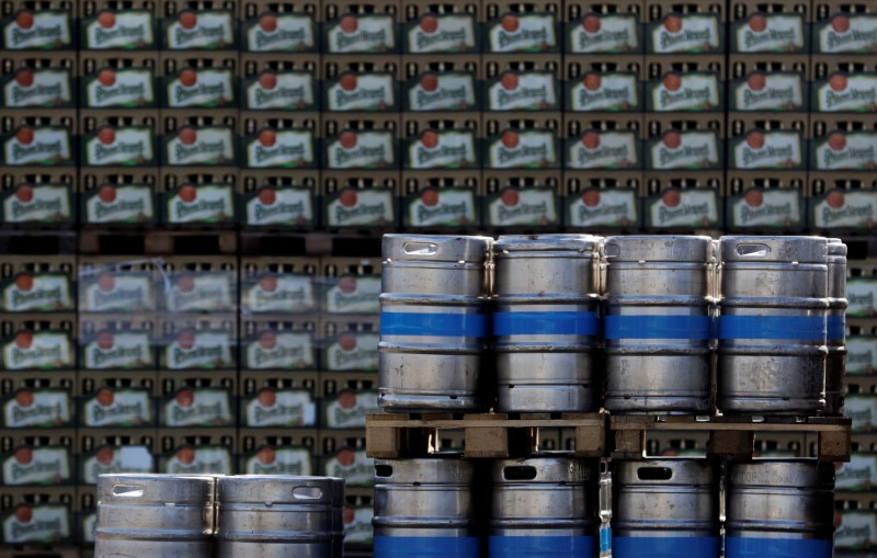Kegs and crates of beer are seen on the yard of Plzensky Prazdroj brewery in Plzen