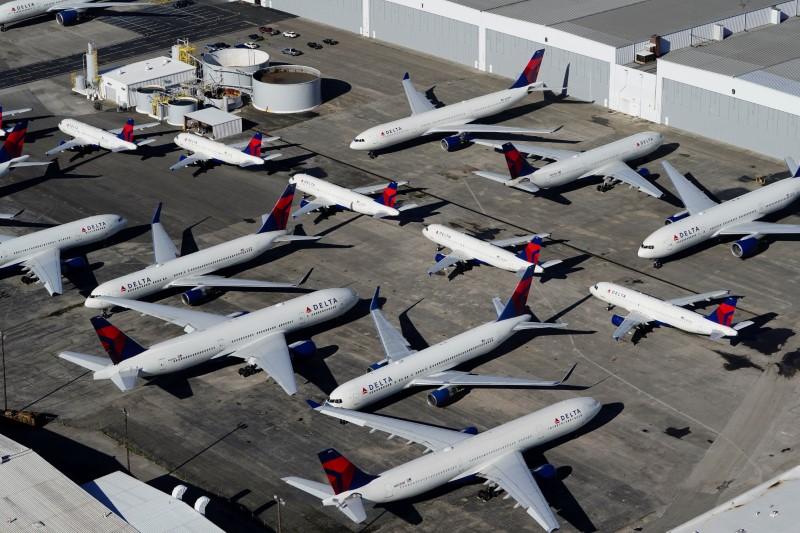 Delta Air Lines passenger planes parked in Birmingham