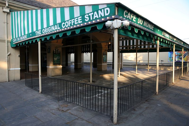 FILE PHOTO: An empty view of the 24-hour French Quarter restaurant Cafe Du Monde amid the
