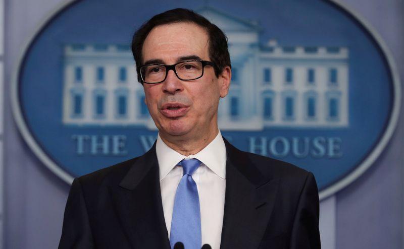 FILE PHOTO: Treasury Secretary Steven Mnuchin speaks during the daily coronavirus task force