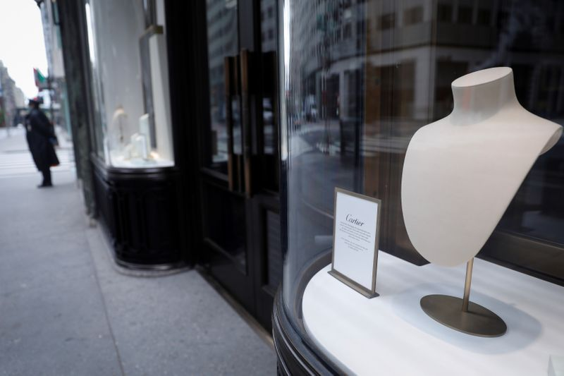Closed luxury retail stores on 5th Avenue in Manhattan during outbreak of the coronavirus