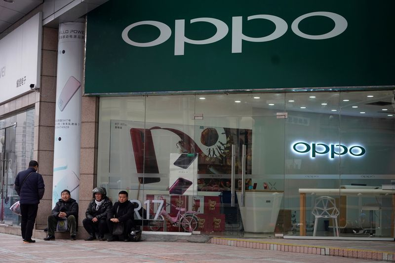 An Oppo logo is seen at a shopping mall in Shanghai