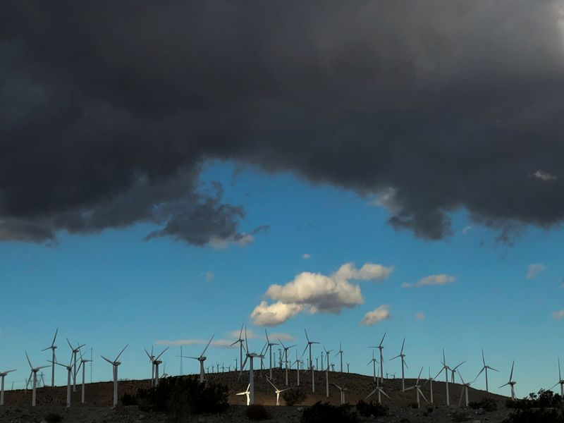 FILE PHOTO: Windmills line a hillside in Palm Springs