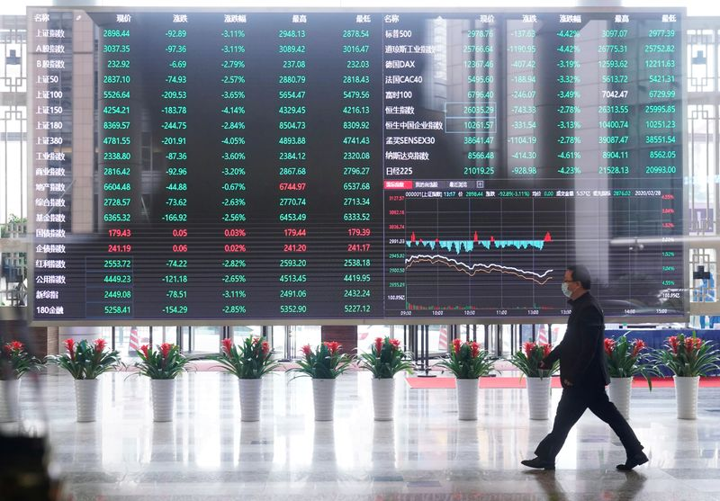 FILE PHOTO: Man wearing a face mask is seen inside the Shanghai Stock Exchange building, as the