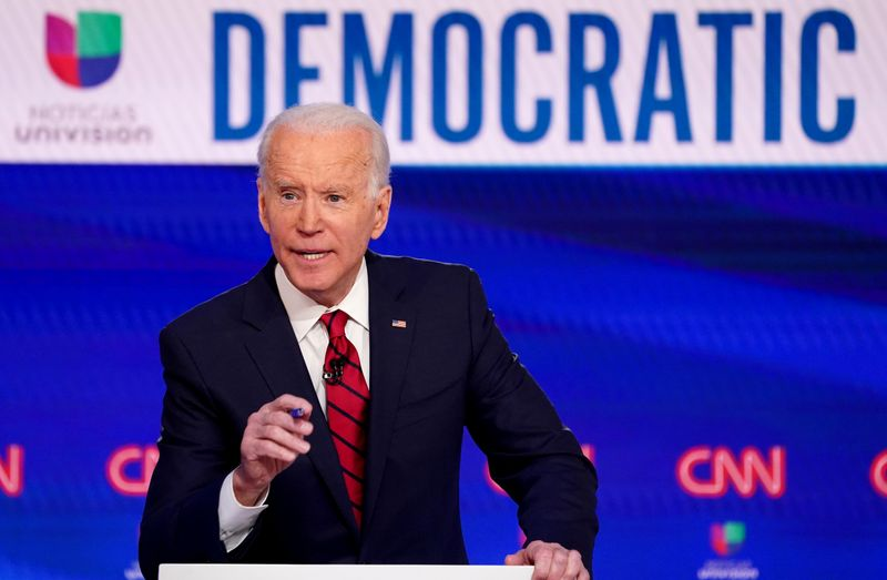 FILE PHOTO: Democratic U.S. presidential candidate and former Vice President Joe Biden speaks