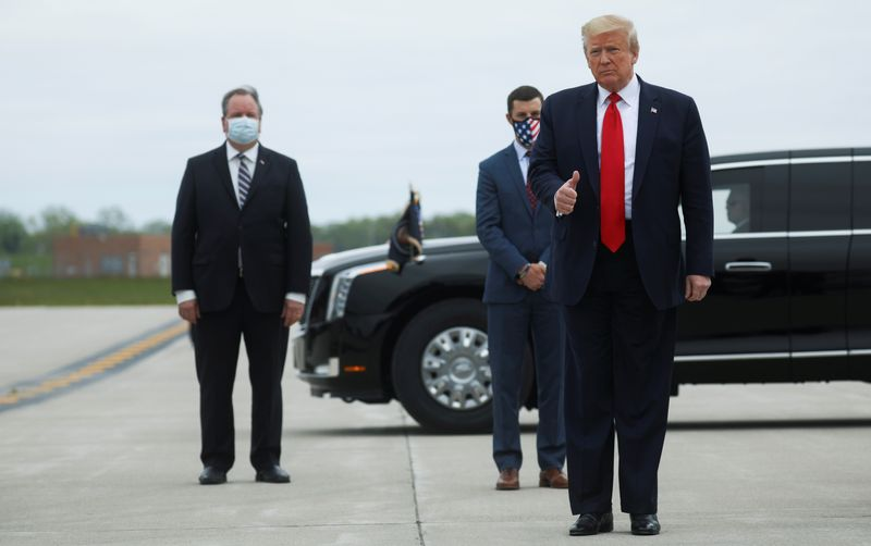 U.S. President Trump arrives at Detroit International Airport prior to visiting Ford