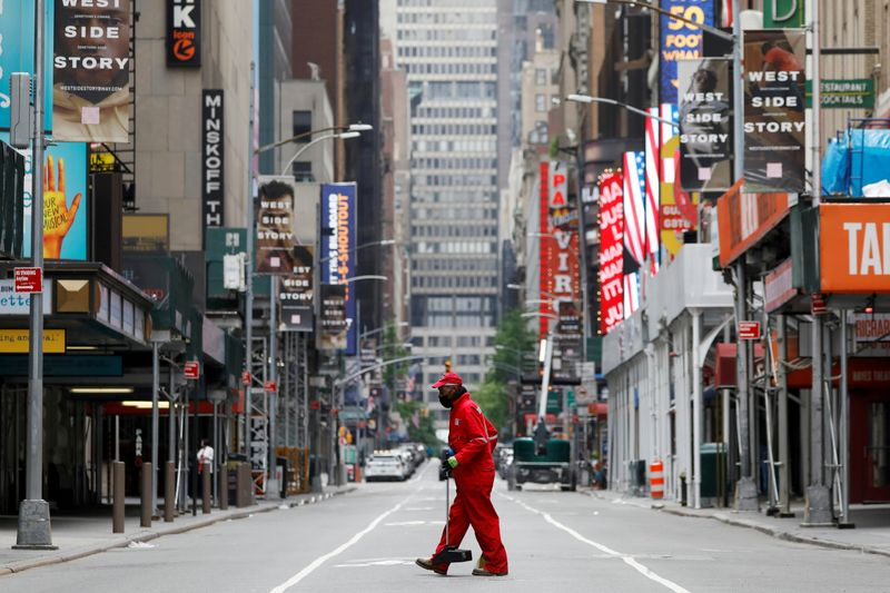 FILE PHOTO: Outbreak of the coronavirus disease (COVID-19) in Manhattan, New York City