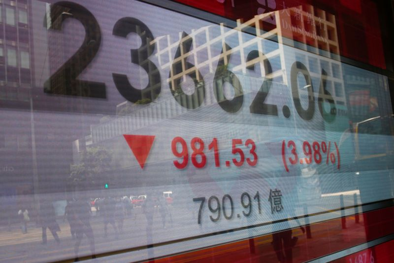 FILE PHOTO: A panel displays the Hang Seng Index during afternoon trading, in Hong Kong