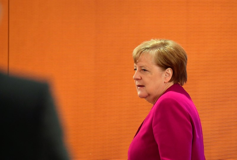German Chancellor Angela Merkel arrives at the weekly cabinet meeting at the Chancellery
