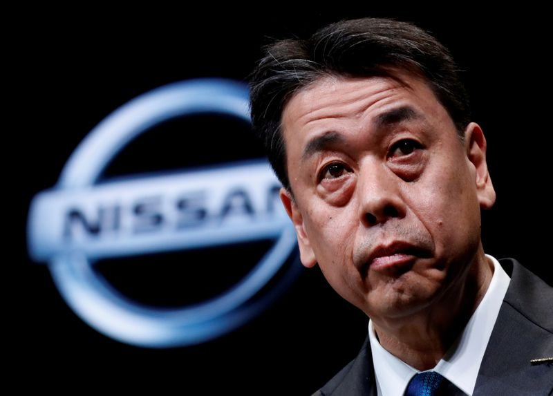 FILE PHOTO: Nissan Motor chief executive Makoto Uchida speaks during a news conference at