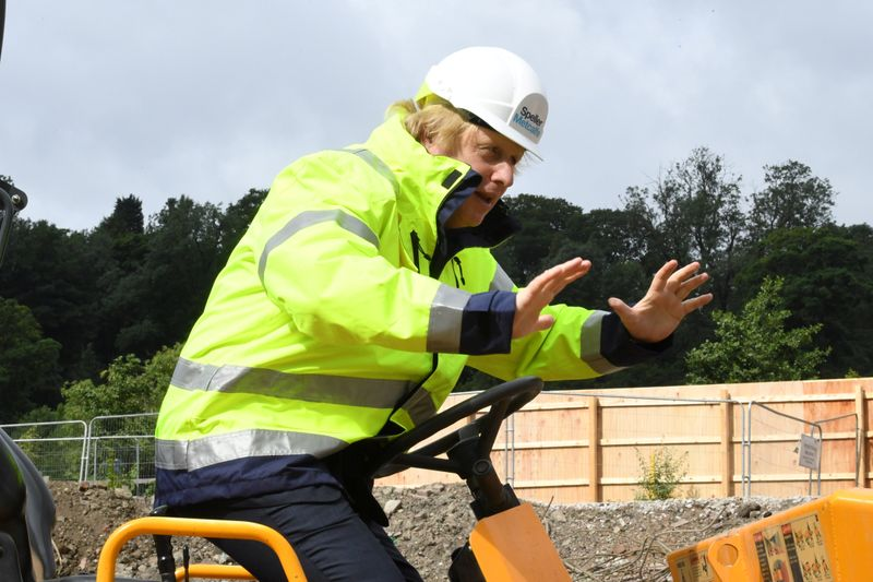 Britain's Prime Minister Boris Johnson visits the Speller Metcalfe's building site in Dudley