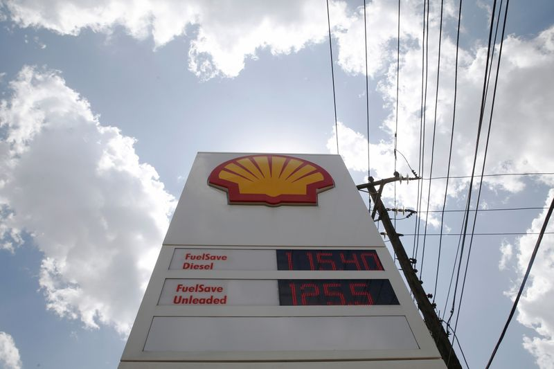 FILE PHOTO: Fuel prices are displayed on a sign at a Shell petrol station in Nairobi, Kenya