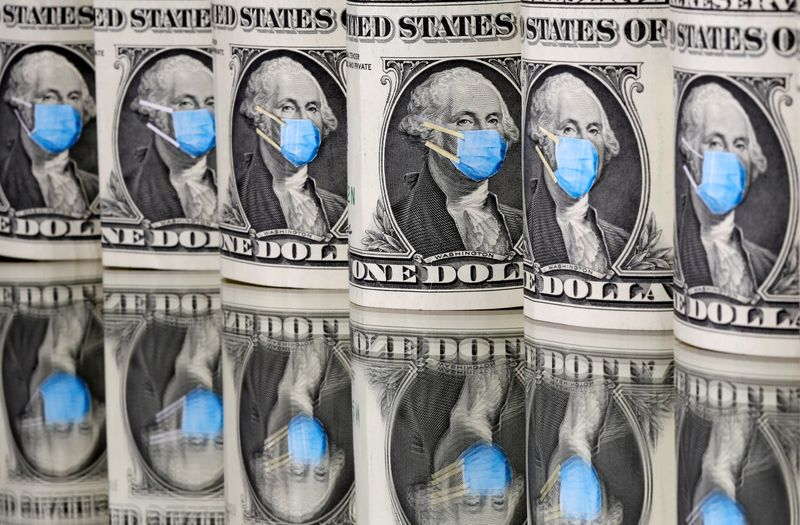 FILE PHOTO: George Washington is seen with printed medical mask on the one Dollar banknotes in