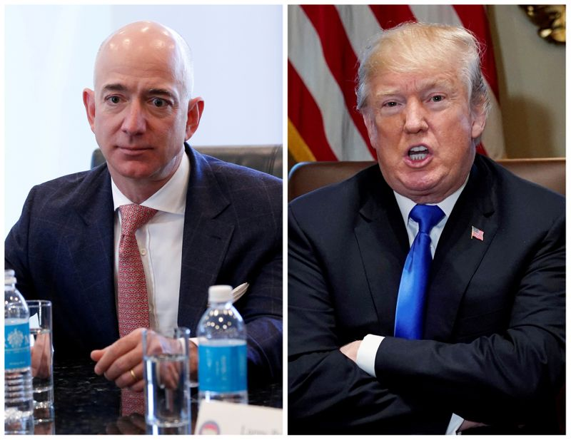 FILE PHOTO: A combination photo of Amazon CEO Jeff Bezos and U.S. President Donald Trump in New