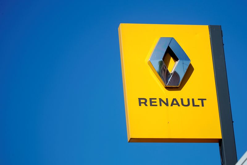 FILE PHOTO: A Renault logo is seen at the main entrance of the Renault factory in Choisy-le-Roi