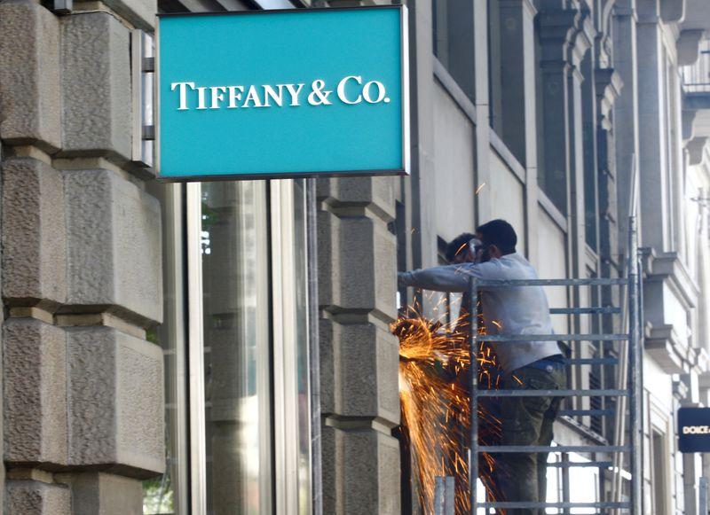 Logo of U.S. jeweller Tiffany & Co. is seen in Zurich