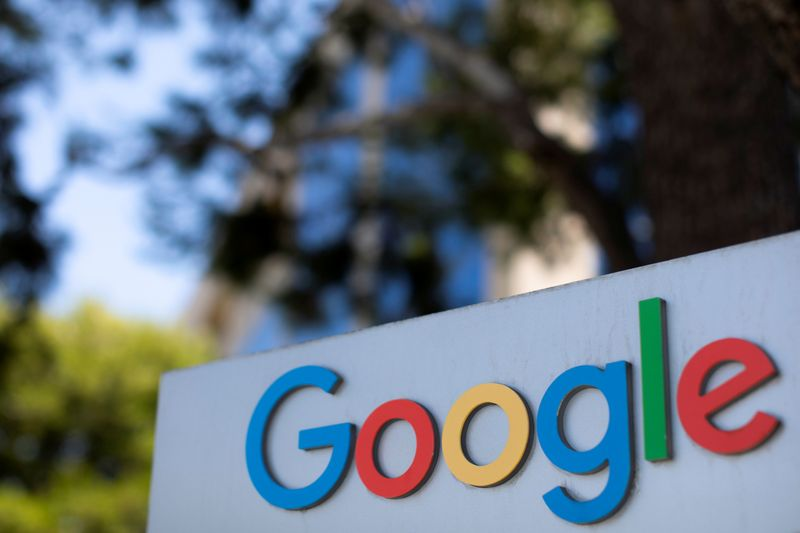 FILE PHOTO: A Google logo is shown at one of the company's office complexes in Irvine,