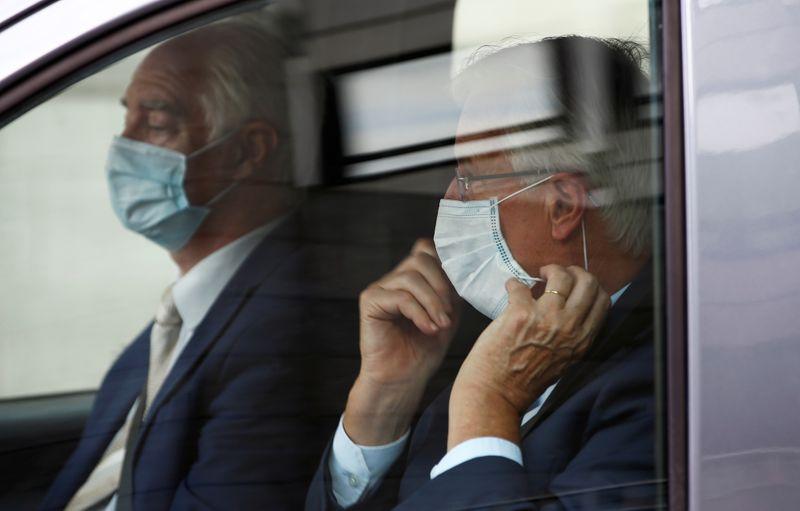 EU's Chief Negotiator Michel Barnier is seen inside a vehicle in Westminster, London