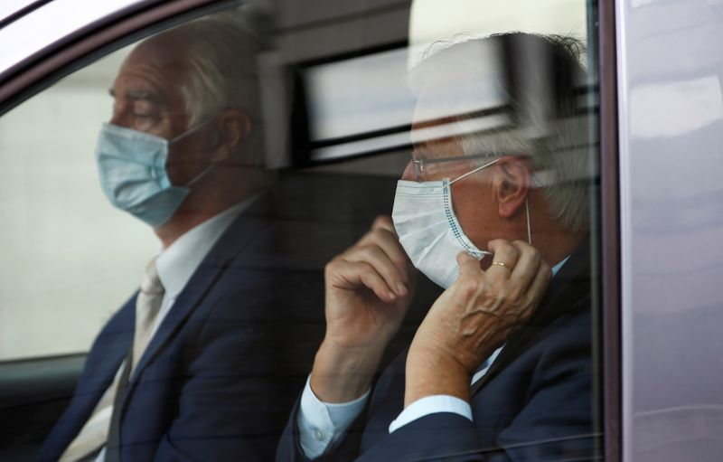 EU's Chief Negotiator Michel Barnier is seen inside a vehicle in Westminster, London