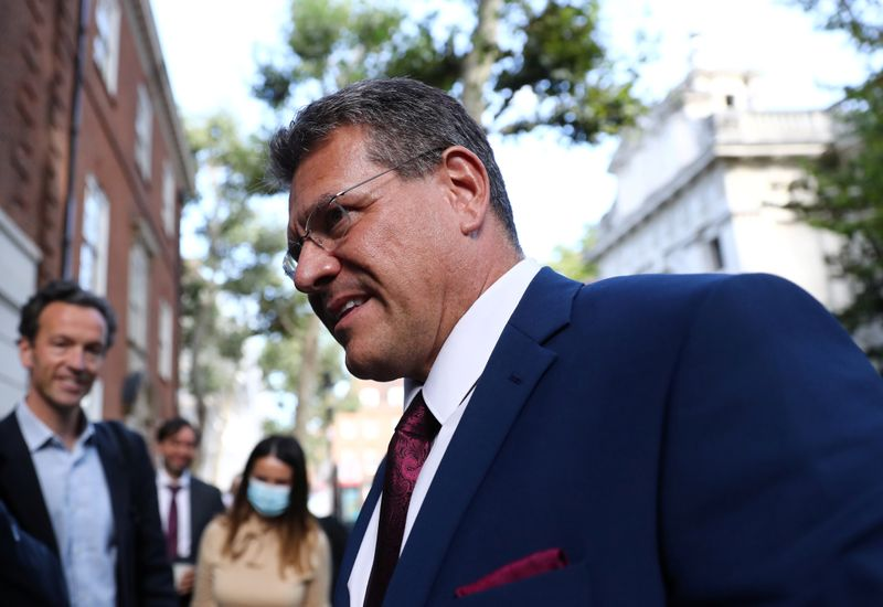 EU Commission Vice President Maros Sefcovic arrives at the Europe House in London