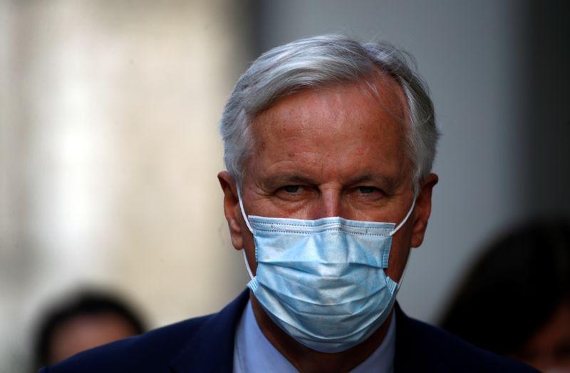 EU chief negotiator Michael Barnier is seen leaving the EU-Brexit talks in central London