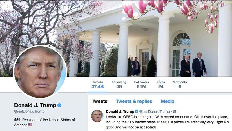FILE PHOTO: The masthead of U.S. President Donald Trump's @realDonaldTrump Twitter account
