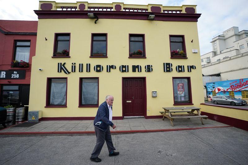 Publican Paul Moynihan prepares for reopening his pub in Donard, County Wicklow, Ireland