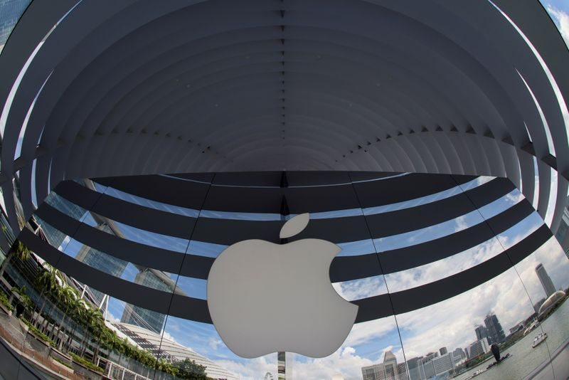 FILE PHOTO: A logo of Apple is seen outside at the upcoming Apple Marina Bay Sands store in