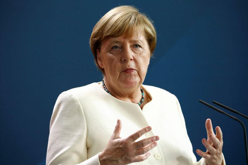 German Chancellor Merkel holds a video news conference with EU Council President Michel and EU