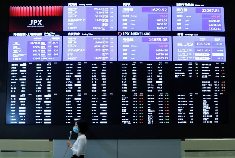 A TV reporter stands in front of a large screen showing stock prices at the Tokyo Stock