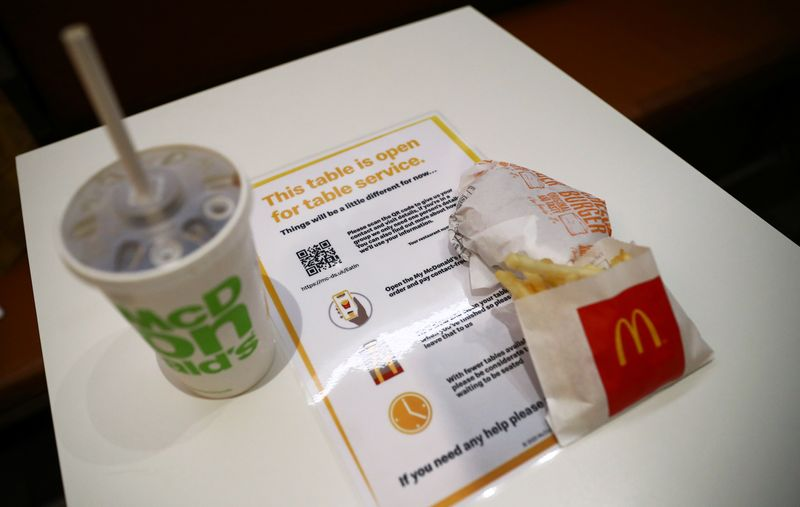 McDonald's restaurants reopen with a dine-in service, in London