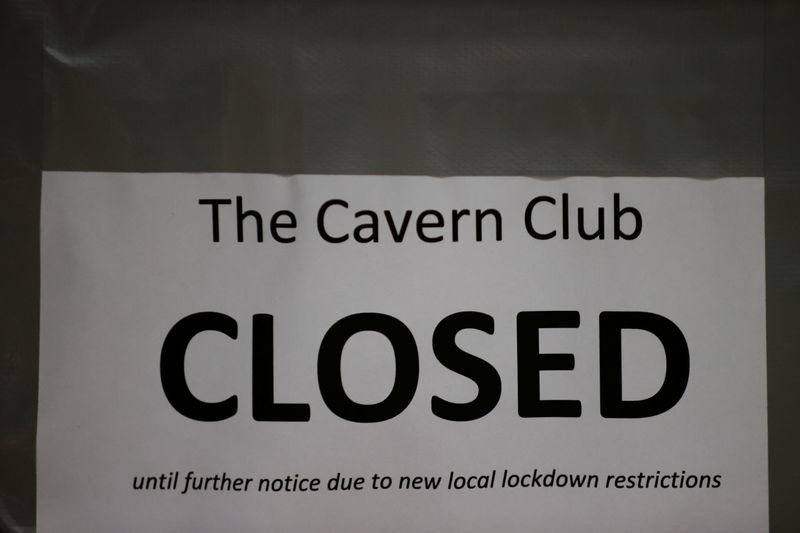 A closed sign is seen on The Cavern Club amid the outbreak of the coronavirus disease