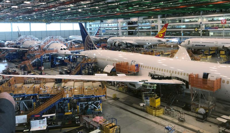 FILE PHOTO: Boeing 787 Dreamliners are shown in final production at widebody factory in North