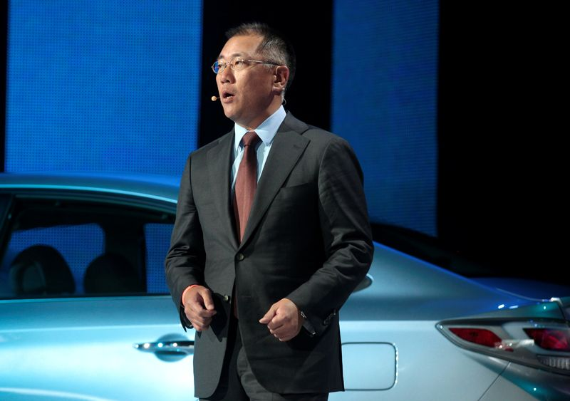 FILE PHOTO: Hyundai Motor Company Vice Chairman Euisun Chung speaks during his company's