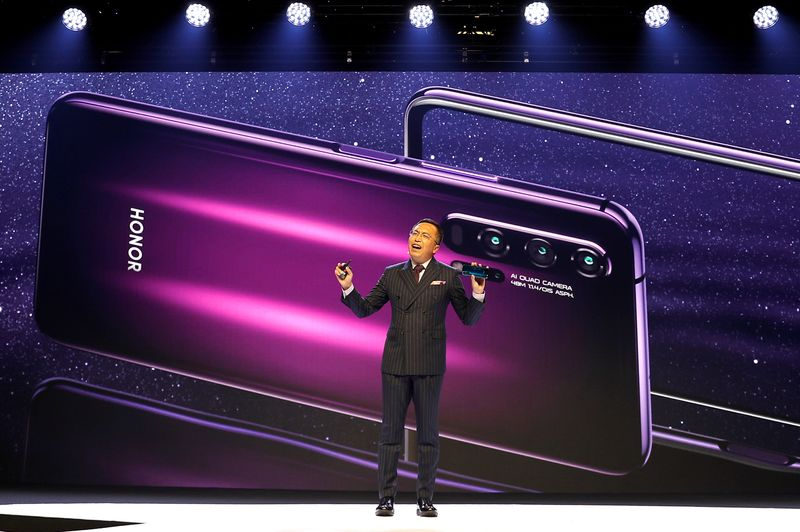 FILE PHOTO: President of Huawei's Honor brand, George Zhao, launches the Honor 20 range of