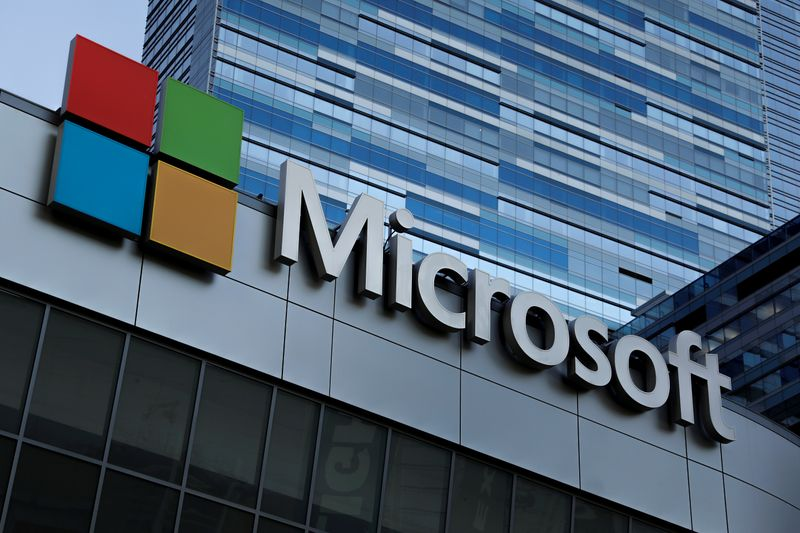 FILE PHOTO: The Microsoft sign is shown on top of the Microsoft Theatre in Los Angeles,