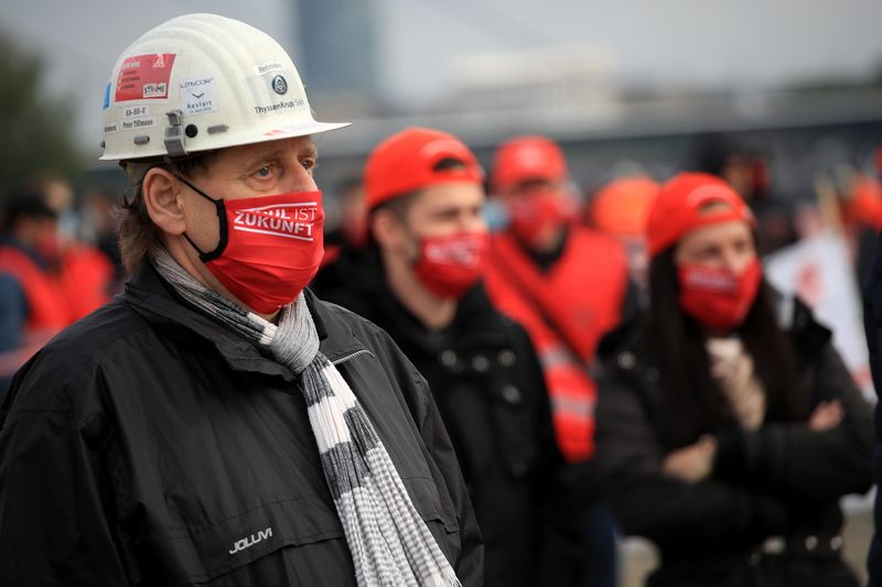 Thyssenkrupp steel workers hold protest in Duesseldorf