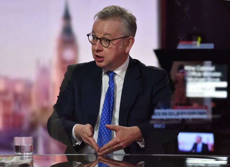 Britain's Chancellor of the Duchy of Lancaster Michael Gove appears on BBC TV's The Andrew Marr
