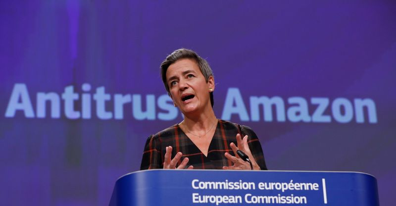 European Commission Vice-President Vestager gives a news conference on a competition case