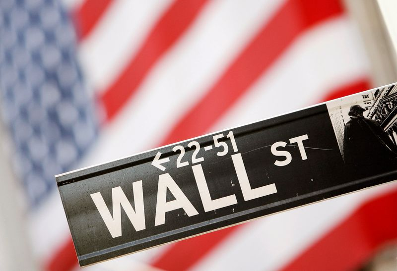 FILE PHOTO: Wall Street sign is be seen outside the New York Stock Exchange