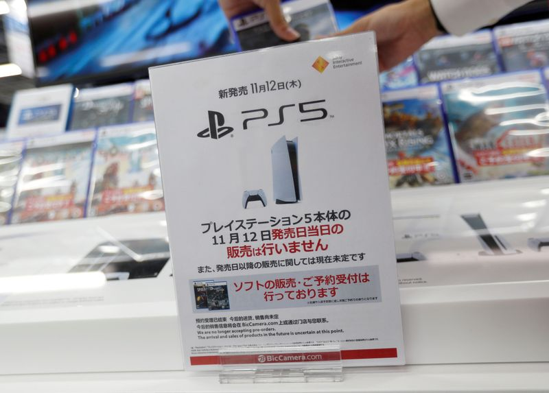 The logos of Sony PlayStation 5 are seen on the package of its' gaming software at the consumer