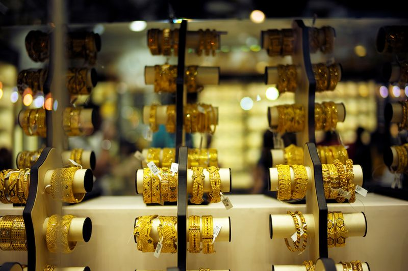 FILE PHOTO: Gold bangles are displayed at a gold shop in Gold Souq in Dubai