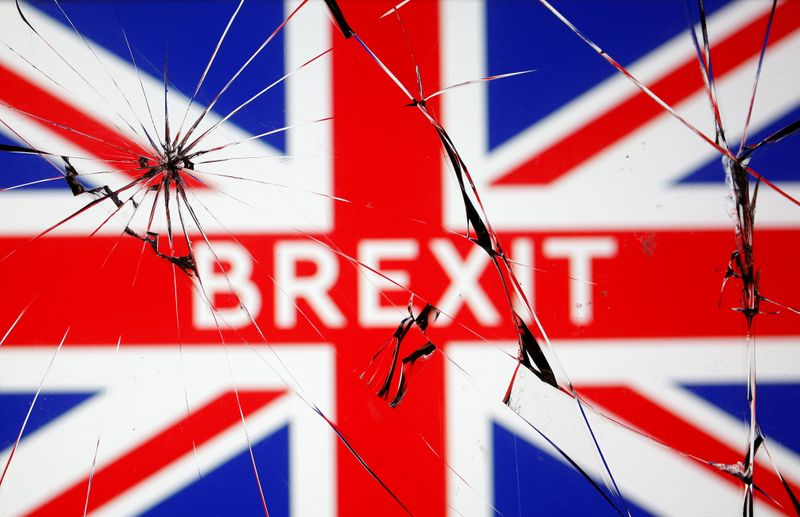 British flag is seen through broken glass in this illustration picture